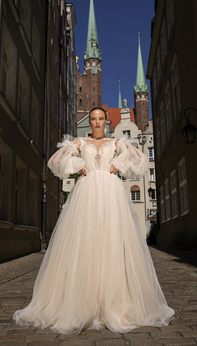 Aveline - Modern Ball Gown with Detachable Puff Sleeves - Maxima Bridal