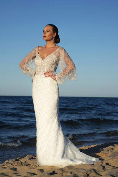 Laurence - Textured Sheath Wedding Dress with Detachable Sleeves - Maxima Bridal