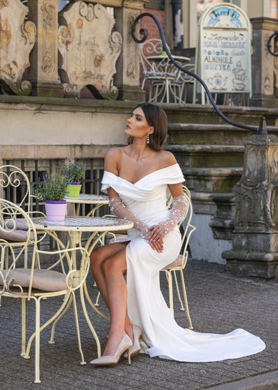 Pauline - Fitted Wedding Dress with Off the Shoulder Sleeves - Maxima Bridal