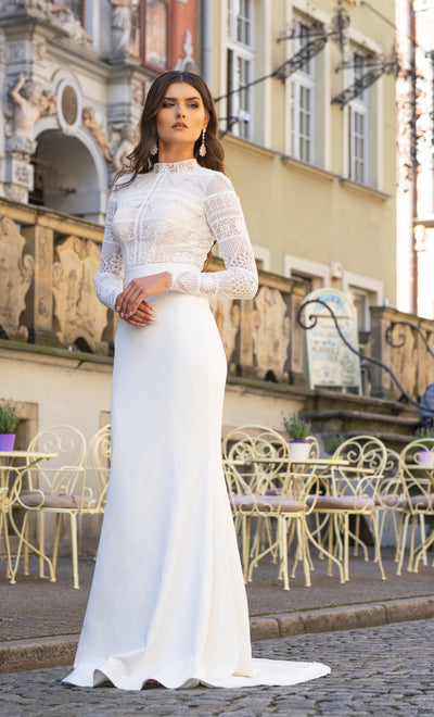 Yvette - Long Sleeve Lace Sheath Wedding Dress - Maxima Bridal