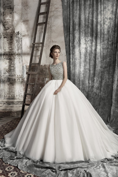 Cecilia - Beaded Bodice Ball Gown with Cathedral Train - Maxima Bridal