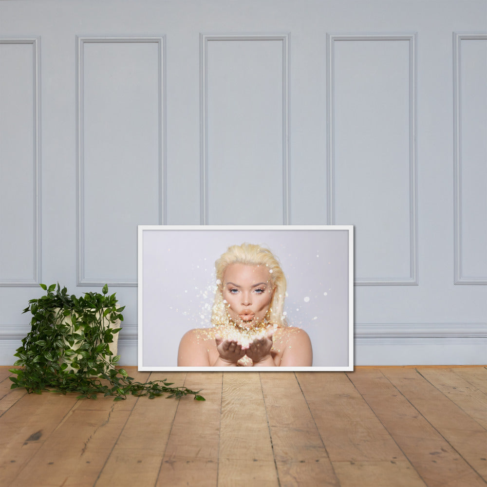 Framed poster - Trisha Blowing Glitter