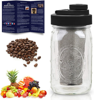 Cold Brew Coffee Maker Kit: Wide Mouth for Coffee, Infused Tea, Alcohol - 1 Quart 32 oz Black Lid Accessories Brewing America