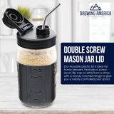 Mason Jar Lids Wide Mouth Plastic 4 Pack Leak Proof with Flip Cap Pouring Spout & Drink Hole Black Accessories Brewing America