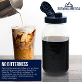 Cold Brew Coffee Maker Kit: Wide Mouth for Coffee, Infused Tea, Alcohol - 2 Quart 64 oz Old Glory Blue Accessories Brewing America