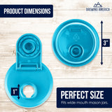 Mason Jar Lids Wide Mouth Plastic 4 Pack Leak Proof with Flip Cap Pouring Spout & Drink Hole Teal Accessories Brewing America