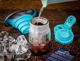 Cold Brew Coffee Maker Kit: Wide Mouth Mason Jar, Filter and Funnel for Clean Brewing and Infused Tea - 2 Quart Teal Lid Brewing America
