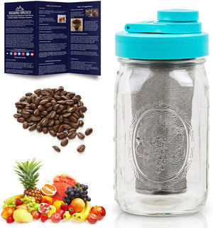 Cold Brew Coffee Maker Kit: Wide Mouth Mason Jar for Delicious Brewed Coffee, Infused Tea, Alcohol - 1 Quart 32 oz Teal Lid Brewing America