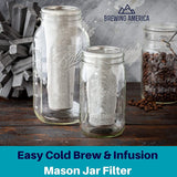 Cold Brew Filter for Mason Jar Wide Mouth Coffee Maker, Stainless Steel (2 Quart (64 Ounces), Teal) Accessories Brewing America