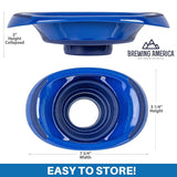 Kitchen Canning Funnel - Wide Mouth Mason Jars Collapsible Silicone for Food, Coffee, Jams, Fruit, Crafts - Blue Accessories Brewing America