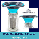 Cold Brew Filter for Mason Jar Wide Mouth Coffee Maker, Stainless Steel (1 Quart (32 Ounces), Teal) Accessories Brewing America
