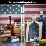 Hydrometer Alcohol Meter Test Kit Distilled Alcohol American-Made 0-200 Proof Pro Series Glass Jar Brewing America
