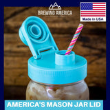 Mason Jar Lids Wide Mouth Plastic 3 Pack Leak Proof with Flip Cap Pouring Spout & Drink Hole Teal Accessories Brewing America
