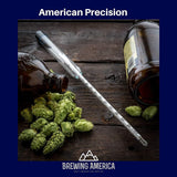 American-Made Precision Hydrometer Alcohol by Volume ABV Tester - Accurate Final Gravity Single Hydrometer Brewing America