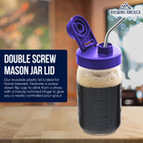 Mason Jar Lids Wide Mouth Plastic 4 Pack Leak Proof with Flip Cap Pouring Spout & Drink Hole Violet Purple Accessories Brewing America