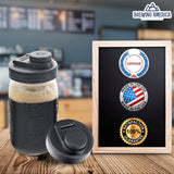 Mason Jar Lids Wide Mouth Plastic 4 Pack Leak Proof with Flip Cap Pouring Spout & Drink Hole Charcoal Gray Accessories Brewing America