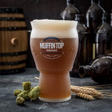 Muffin Top Nucleated Beer Glasses - Pint Glass - Cider, Soda, Tea (Muffin Top Logo Single Glass) Accessories Brewing America