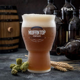 Muffin Top Nucleated Beer Glasses - Pint Glass - Cider, Soda, Tea (Muffin Top Logo 4-pack) Accessories Brewing America