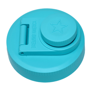 Mason Jar Lids Wide Mouth Plastic 1 Pack Leak Proof with Flip Cap Pouring Spout & Drink Hole Teal Brewing America
