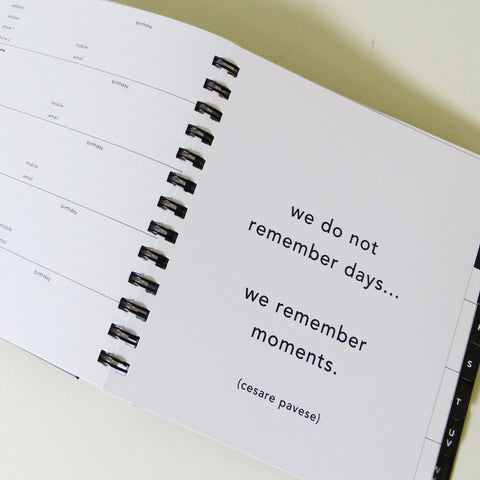 Remember moments quote inside Address Book.