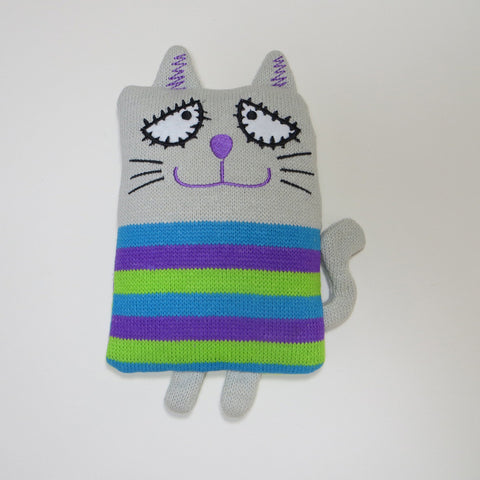 Heat pillow for children with kitty cover.