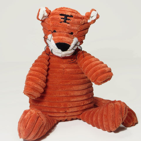 Large orange tiger toy in soft corduroy fabric with sewn on features.