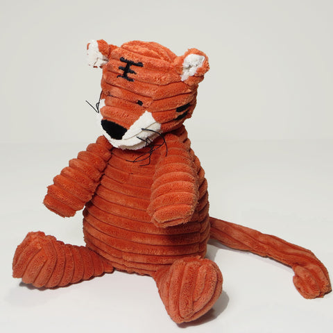 Large orange tiger toy in soft corduroy fabric with sewn on features - alternative view.