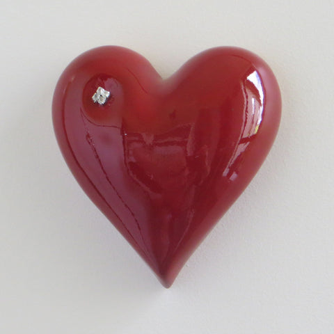 Red ceramic heart with diamantes