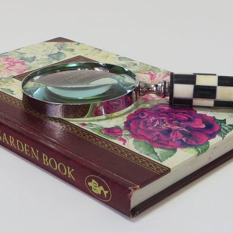 Large magnifying glass on book.