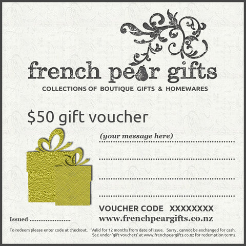 French Pear Gifts $50 Gift Voucher.