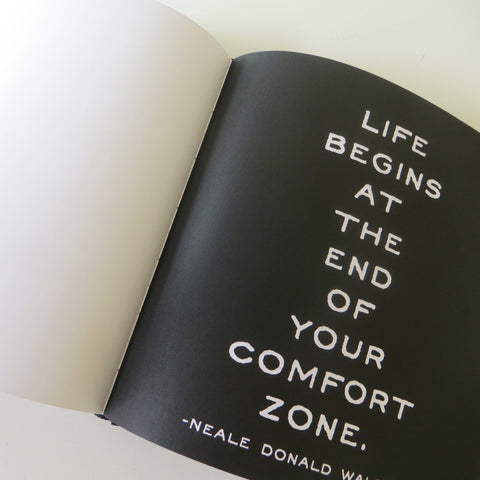 Comfort zone quote page from Quotable book.