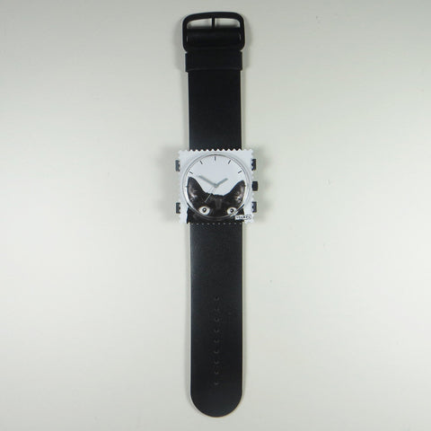 S.T.A.M.P.S black leather strap with Catwoman face.