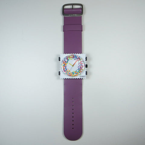 Best Numbers watch face on purple leather strap.