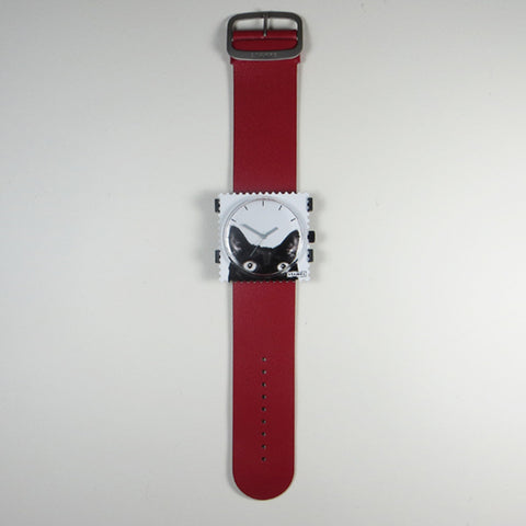 Red leather strap with Catwoman S.T.A.M.P.S watch face.