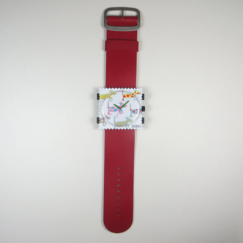 Walk the Dog watch face on red leather strap.