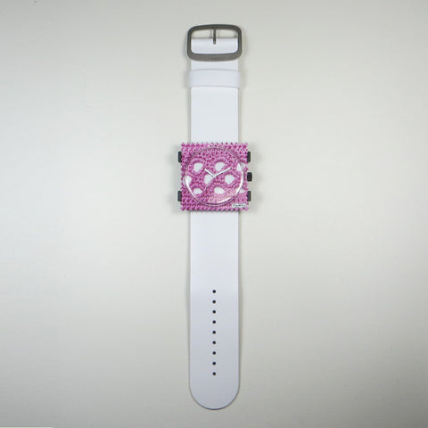By Granny watch face on white leather strap.