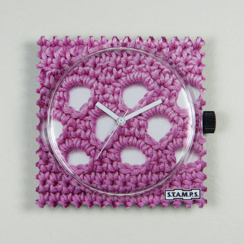 S.T.A.M.P.S watch face By Granny - pink crochet look.