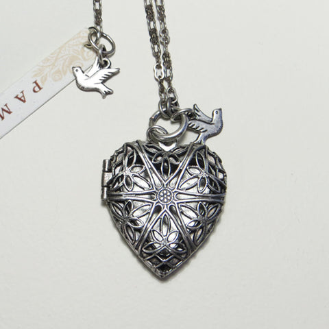 Vintage Groove Heart Locket -two sided.