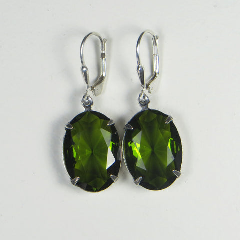 Winged Amour olive green jewel earrings.