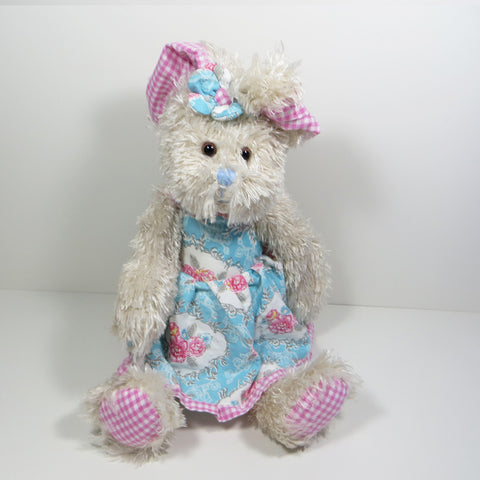 Vintage Rose rabbit with pink ears and blue dress.