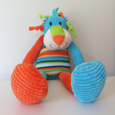 Striped Lion Soft Toy - Blue