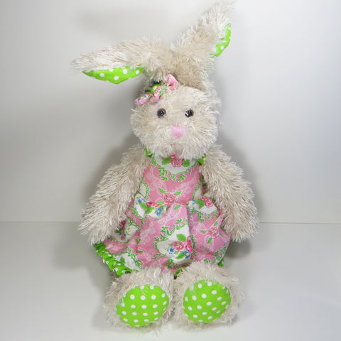 Vintage Rose Rabbit with green ears and pink dress.