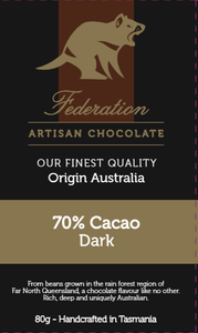 Origin Australia - Dark 70% - Federation Artisan Chocolate - Tasmania