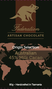 Origin Australia - Milk Chocolate 46% Cacao - Federation Artisan Chocolate - Tasmania