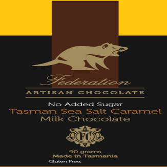 fudgey - Tasman Sea Salt Caramel - no added sugar milk chocolate.