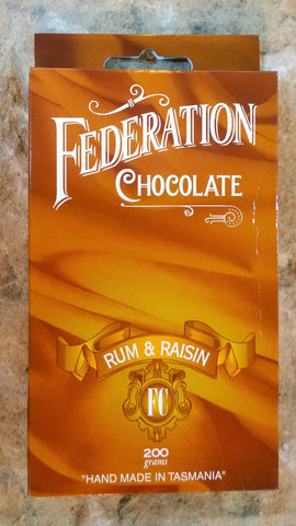 Australian Rum and Raisin in Rich Dark Chocolate - Federation Artisan Chocolate - Tasmania