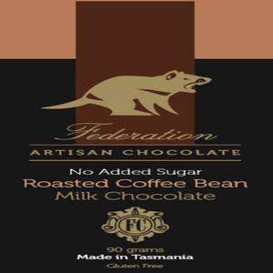 Roasted Coffee Bean in no added sugar milk chocolate - Federation Artisan Chocolate - Tasmania