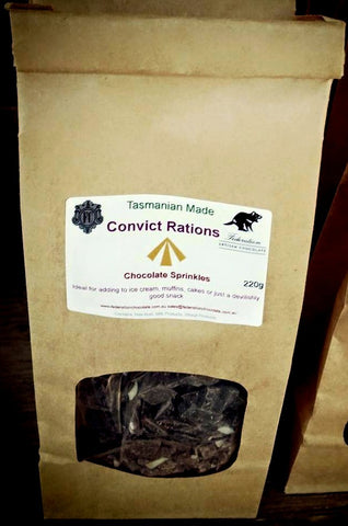 Convict Rations - Chocolate Sprinkles - Add to ice cream, muffin mix - Federation Artisan Chocolate - Tasmania
