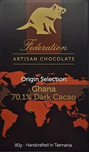 Ghana 70% Dark Cacao - Origin Selection - Federation Artisan Chocolate - Tasmania