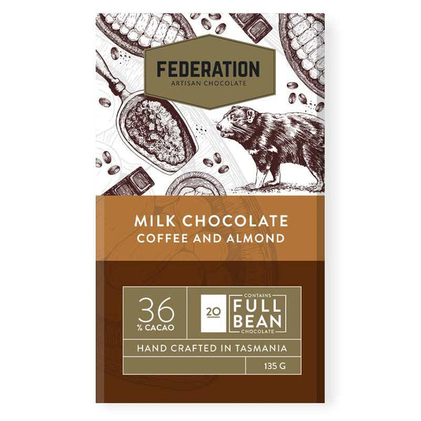 fudgey - Coffee Almond Milk Chocolate - Federation Artisan Chocolate